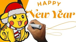 Como dibujar a PIKACHU NUEVO AÑO paso a paso | how to draw PIKACHU NEW YEAR