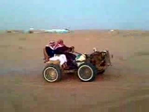 Funny Arab wheeling on sand (doing  wheelie)