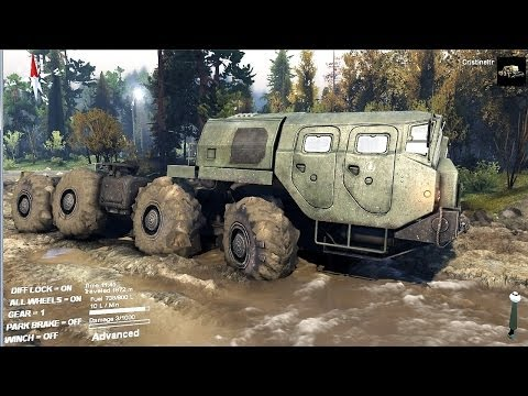 SPINTIRES 2014 Full Version Preview - 8x8 Truck Towing the Ural Truck + Trailer
