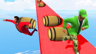 EXTREME DONKEY KONG BARREL DODGE CHALLENGE! (GTA 5 Funny Moments)