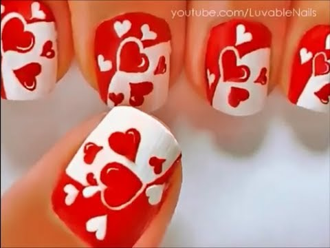 U as decoradas con corazones youtube - Unas decoradas con esmalte ...