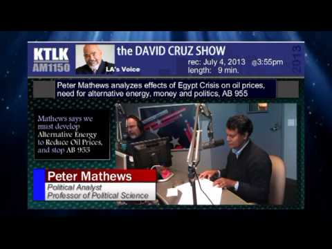 Peter Mathews analyzes effects of Egypt Crisis on oil prices, money and politics, AB 955