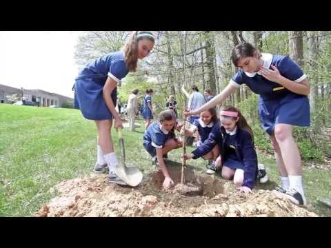 Planting Trees for Earth Day at Notre Dame Preparatory School