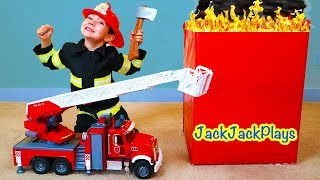 Surprise Bruder Fire Truck Toy Unboxing + Pretend Play with Firefighter Costume