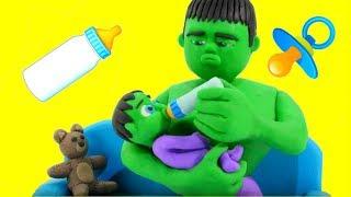HULK BABY SITTER ❤ Frozen Elsa & Superhero Babies Play Doh Cartoons For Kids