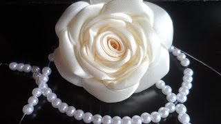 hand made : Роза из атласной ленты / D.I.Y. Rose of Satin ribbon