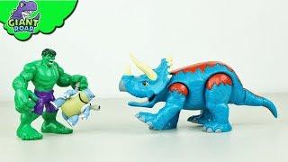 HULK attacks Pokemon Village! Dinosaur transform triceratops action for kids toys