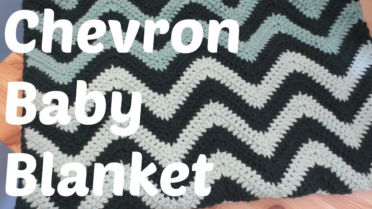 Easy Crochet Chevron Baby Blanket Youtube