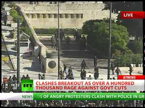 Athens Clashes LIVE: RT at Greece massive protest showdown