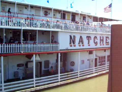 Natchez Steamboat Paddle-Wheel. Engine Room. Steam Whistle and Docking