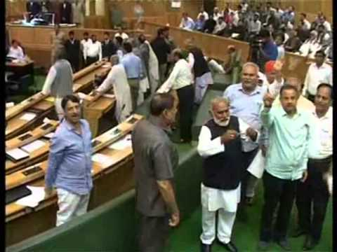 Bjp Party Members marshal out from Jammu and Kashmir Assembly.