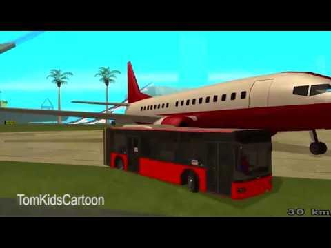 Spiderman Disney Cars Lightning McQueen COLORS City New Bus  -TomKidsCartoon