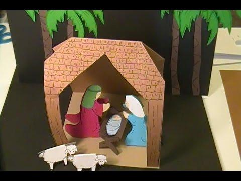 Easy To Make Paper Nativity Scene Youtube