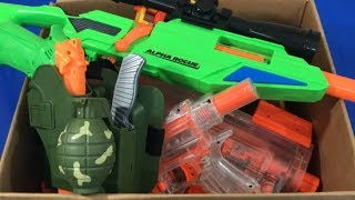 Box of Toys Military Toys Toy Guns NERF Guns Kids Fun