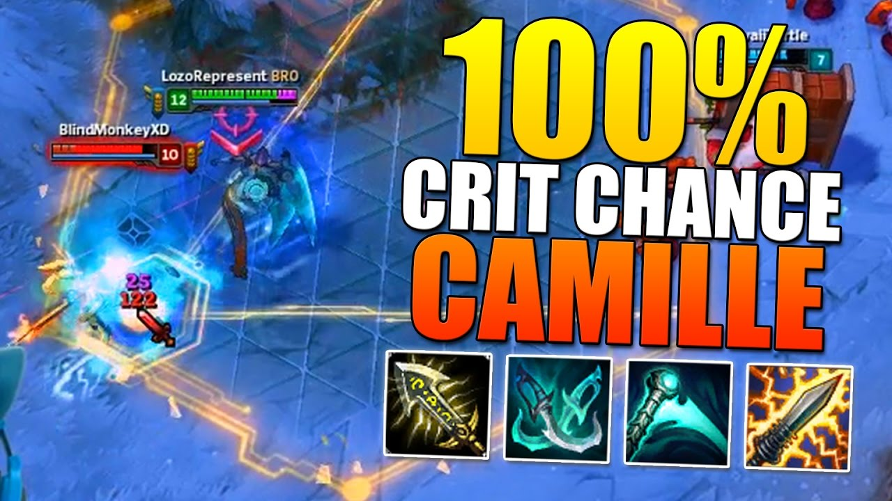 100% CRIT CHANCE CAMILLE (TRUE DAMAGE CRITS ON Q) - League of Legends