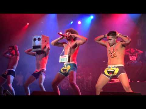 "December 12, 2011 LMFAO performing their hit song ""Sexy and I know It."" Unfortunately, Sky Blu hurt his back and couldn't make it to the show, so it is only ..."
