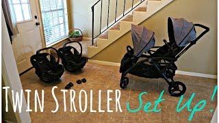 TWIN STROLLER SET UP! Contours Options Elite & Britax B Safe 35