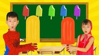 School colors Superman Fishing POPSICLE vs Ice Cream Tubs w/ Spiderman Paint Lollipop Learn Color