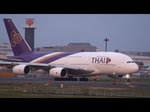 Thai Airways Airbus A380 HS-TUA Landing and Takeoff NRT/RJAA