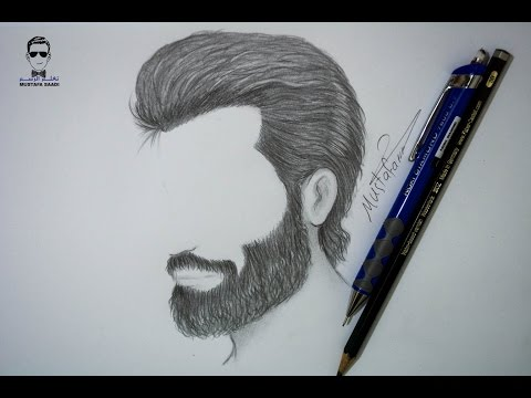 طريقة رسم الشعر واللحية للرجل بالرصاص للمبتدئين