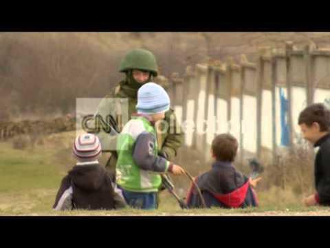 CRIMEA: UNARMED MEN AND UKRAINE TROOPS STANDOFF