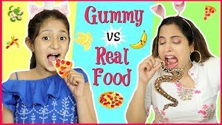 GUMMY vs REAL Food SwitchUp Challenge | #ShrutiArjunAnand #Fun #Kids
