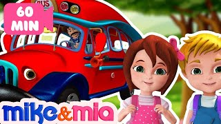 Wheels on the Bus | Red Bus Song | Nursery Rhymes Playlist for Children | Kids Songs by Mike and Mia