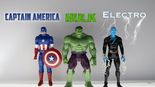 Avengers Action Figures - Captain America, Hulk, and Electro PLUS Avengers vs. Electro Fight