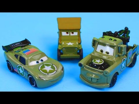 Disney Pixar Cars Lightning McQueen & Mater join Sarges Army and attened boot camp Just4fun290