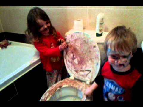 Funny Toddlers Kids Painting Mess In Bathroom Youtube