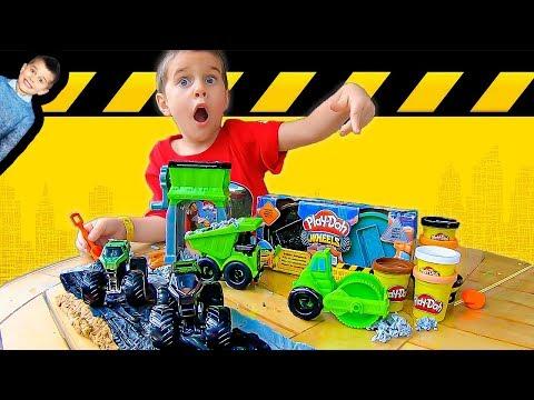 Play-Doh Construction Trucks Build Road for Monster Jam Toy Monster Trucks