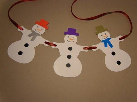 Как сделать снеговиков гирлянду из бумаги