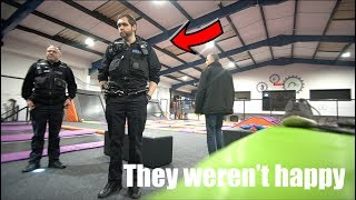 Owner came with police at midnight.. Trampoline park overnight challenge!
