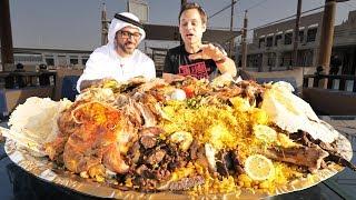 Dubai Food - RARE Camel Platter - WHOLE Camel w Rice  Eggs - Traditional Emirati Cuisine in UAE!