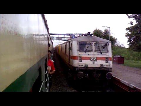 Dangerous Overtake In Indian Railways!! High Speed Wap-7 double Decker