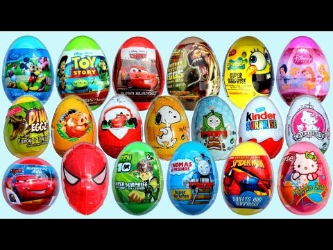 19 Surprise Eggs. Kinder Surprise Cars 2 Mickey Mouse Spongebob Disney Pixar