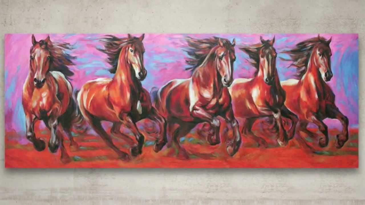 Friesian Horse Paintings Friesian Horses Running