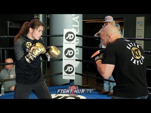 SHES AMAZING! KATIE TAYLOR LIGHTS UP THE MITTS WITH SPEED AND POWER! PAD WORKOUT- FULL VIDEO