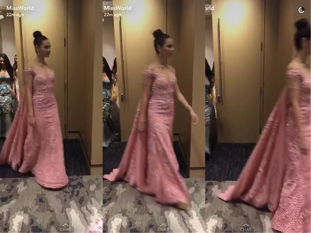 Miss World 2016 Catriona Gray during TOP MODEL EVENT - Pink Long Gown Teaser - PHILIPPINES
