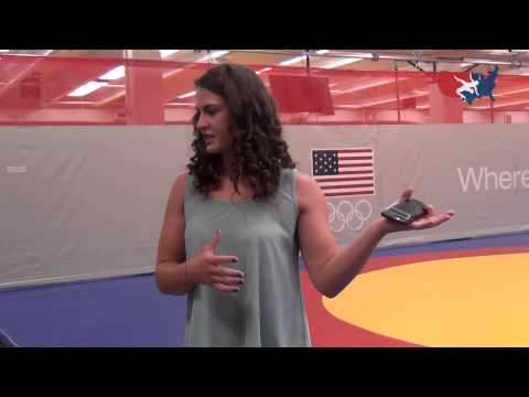 Adeline Gray speaking at Bill Farrell Wrestling Room unveiling