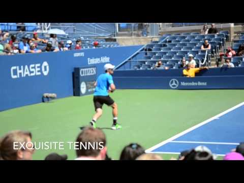 Andy Murray Practice Set 2014 US Open W/ Lleyton Hewitt