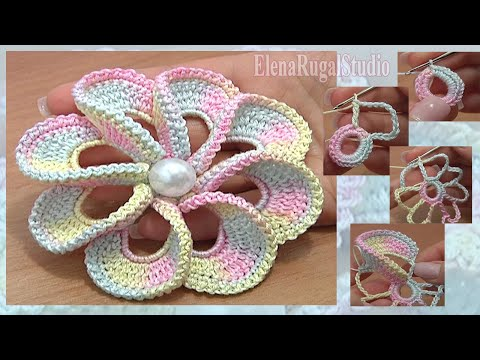 3D Spiral 8-Petal Flower Trim Around Tutrial 56