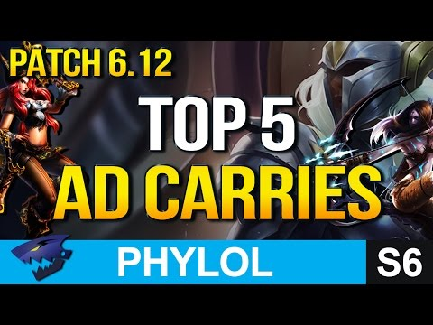 TOP 5 BEST AD CARRIES in Patch 6.12 (League of Legends)