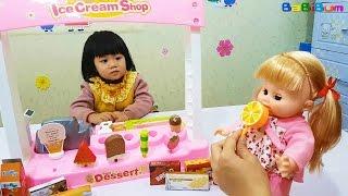 Ice Cream Shop Toy & Baby Doll, Đồ Chơi Trẻ Em Cửa Hàng Bán Kem, Búp Bê Baby và Người Nhện Ăn Kem