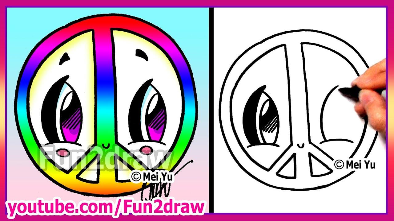 Peace Cartoon Drawings Rainbow Peace Sign How to