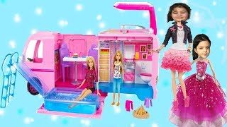 MASAL VE ÖYKÜYE BÜYÜK SÜRPRİZ! RÜYA KARAVANI Barbie Dolls in Dream Camper  - Comedy for Kids