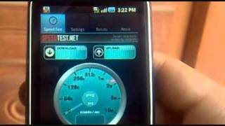 Tata Docomo 3G speedtest on Samsung Galaxy 5- shot with Nokia 5800 XM