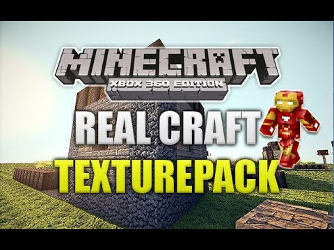 Minecraft Xbox 360 - RealCraft Texturepack Review W/ Iron Man Skin! (Natural Texture!)