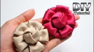 DIY - Tutorial Fabric Flower Satin Velvet | Bunga Hanna | Cara membuat bros bunga kain Patchwork