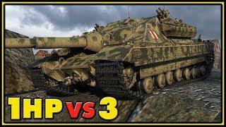FV217 Badger - 1 HP VS 3 - World of Tanks Gameplay
